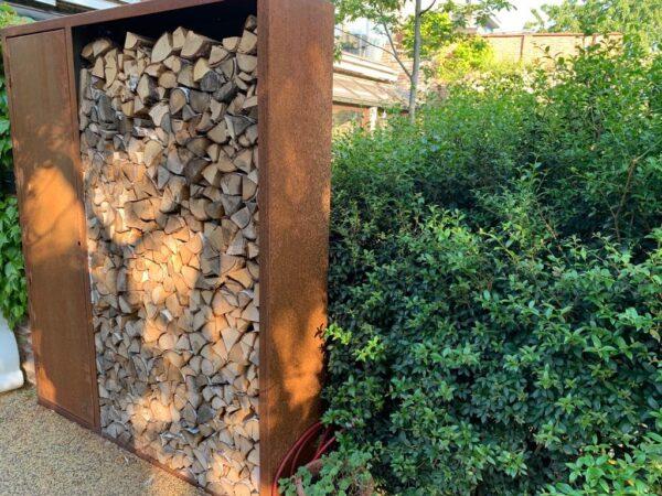 houtopslag met kast Geroba cortenstaal